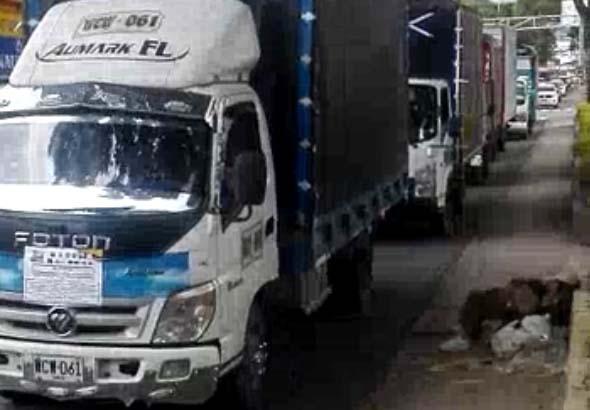 Protesta de camiones pequeños y furgones se hizo sentir por la carrera Quinta de Ibagué