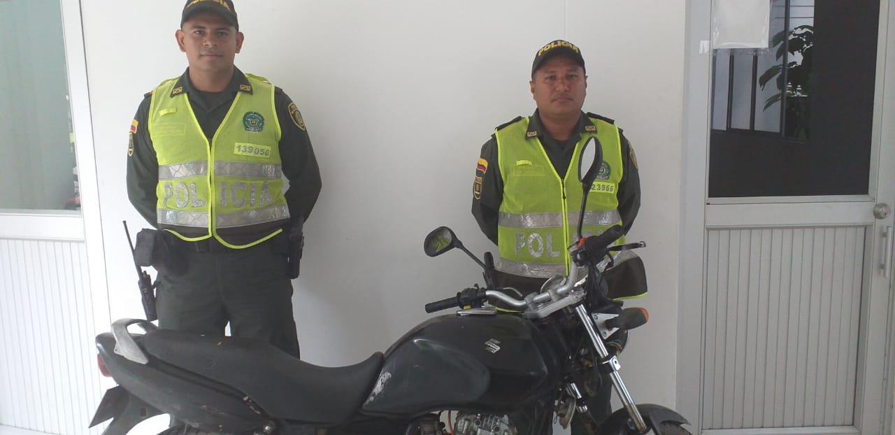 Policía Tolima recupera una motocicleta hurtada