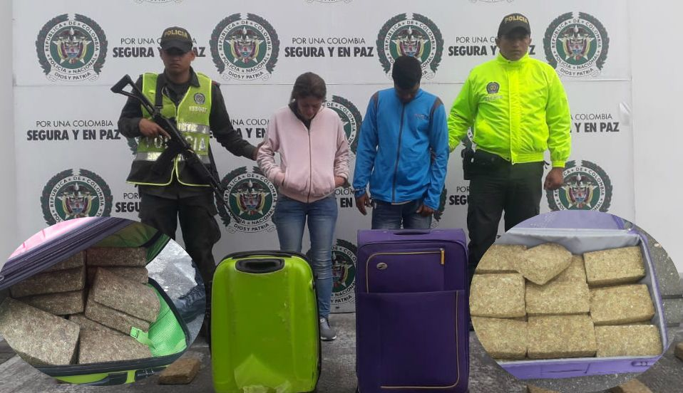 Una pareja pretendía viajar a Barranquilla con el equipaje lleno de 50 mil dosis de marihuana