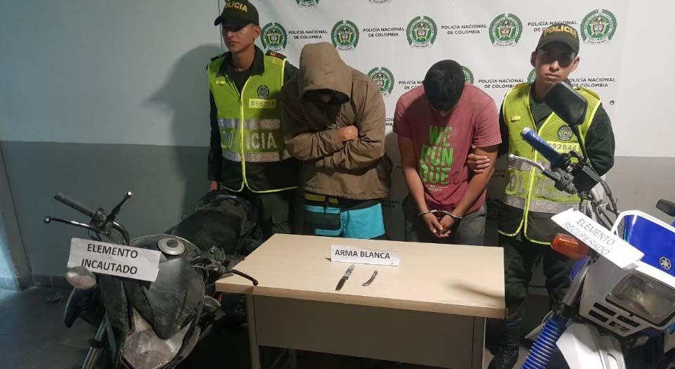 Policía del Espinal recuperó moto hurtada y atrapó a los ladrones