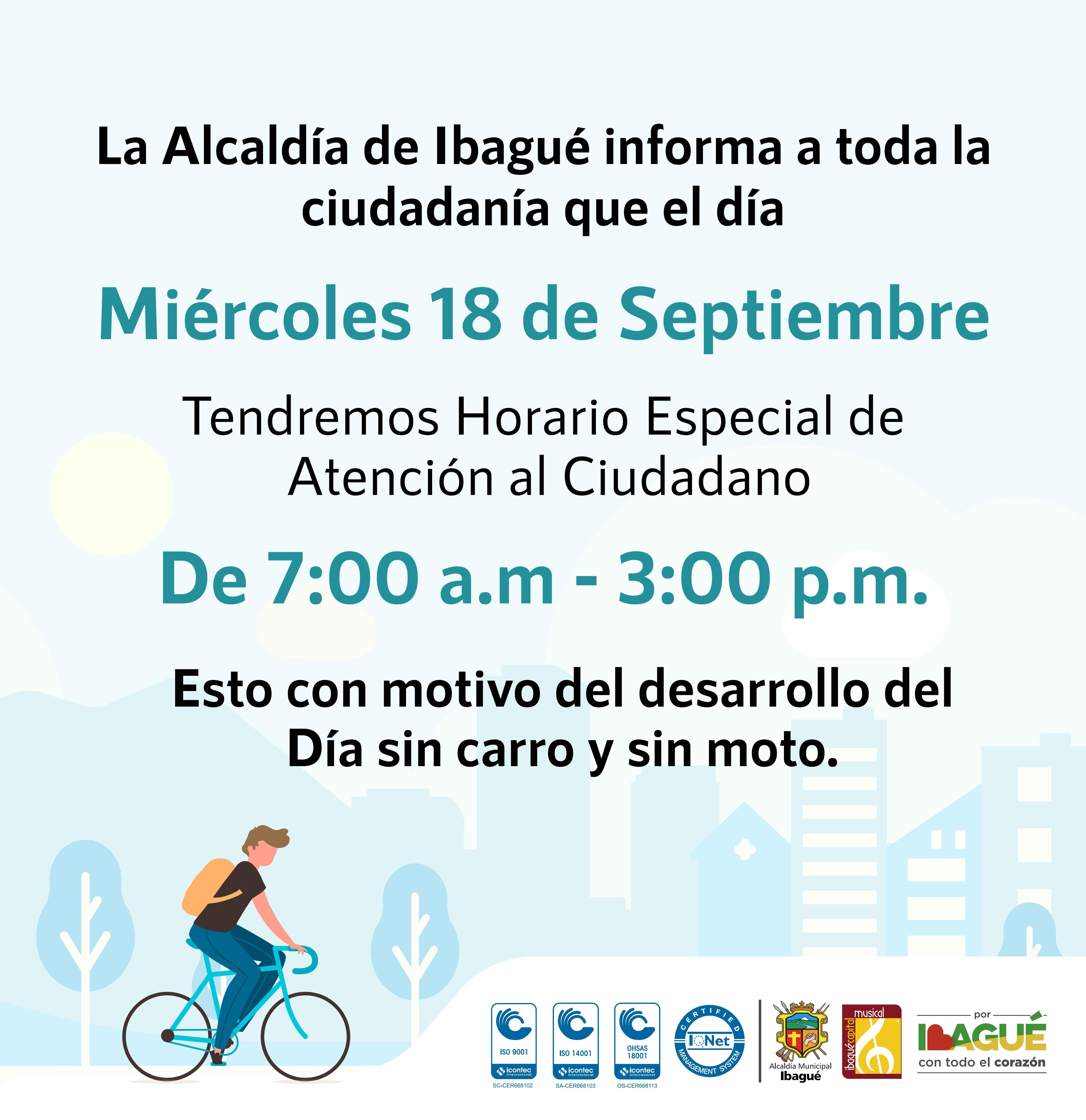 Este miércoles la Alcaldía de Ibagué atenderá en horario especial