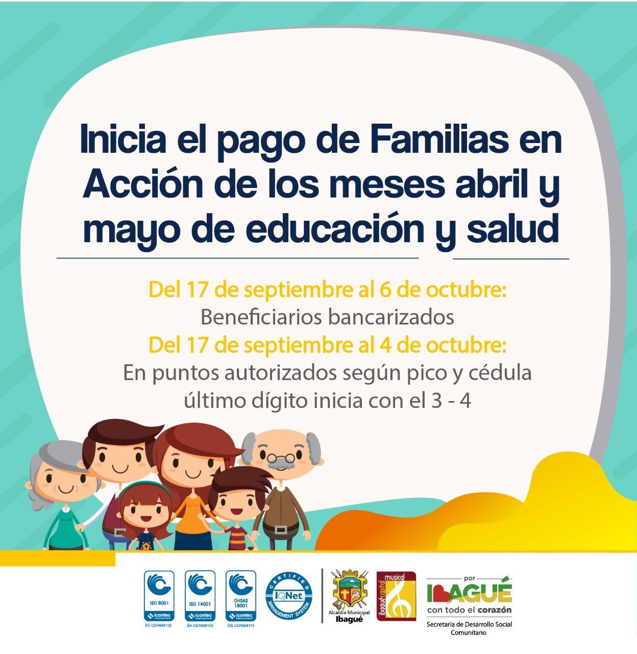 Inicia cuarto pago de 'Familias en Acción'