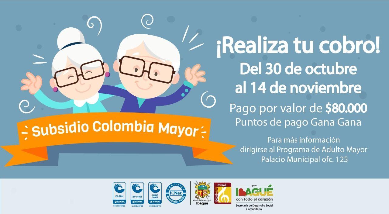 Este miércoles inician pagos de Colombia Mayor