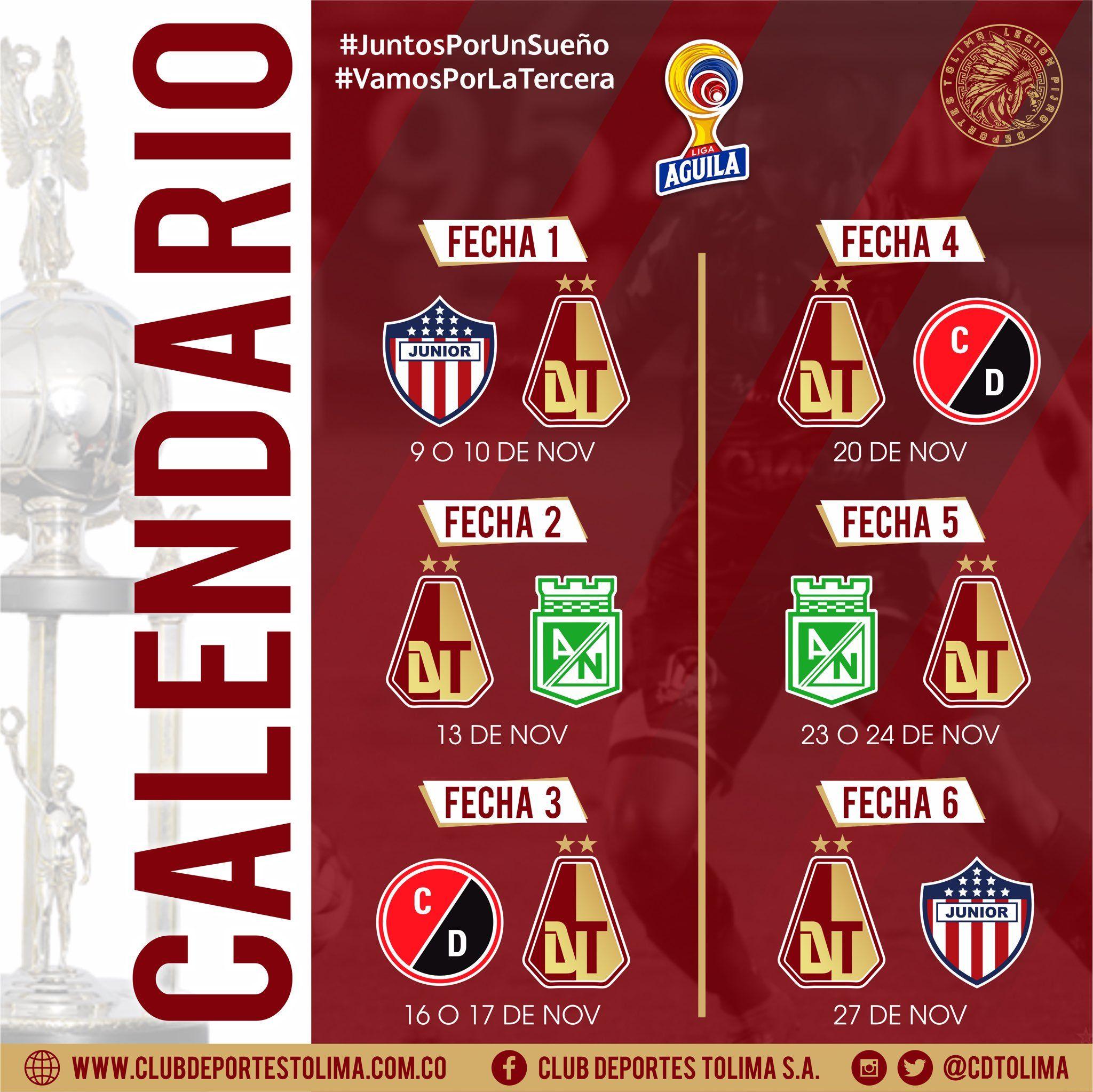 Deportes Tolima se medirá ante Nacional, Junior y Cúcuta en el cuadrangular A