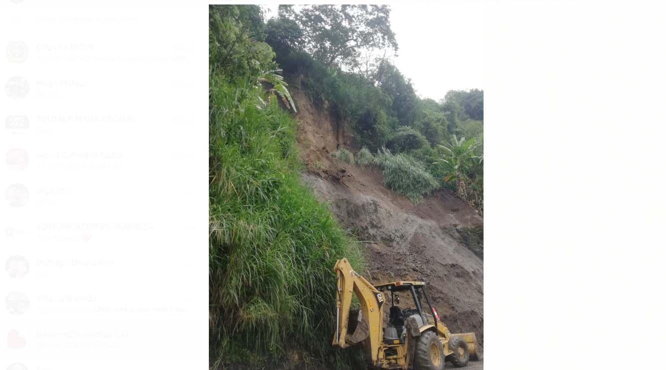 Restricción temporal de tráfico por peligro de deslizamiento en el sector La Vega
