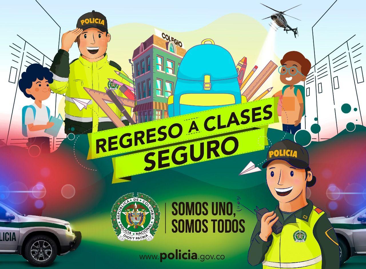 Policía dio la bienvenida y recomendaciones a estudiantes en el inicio de clases