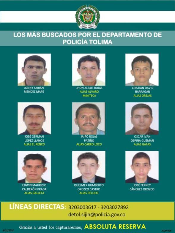 El nuevo cartel de los más buscados en el Tolima