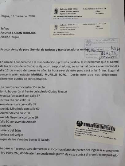El paro de este lunes de taxistas en Ibagué sigue firme