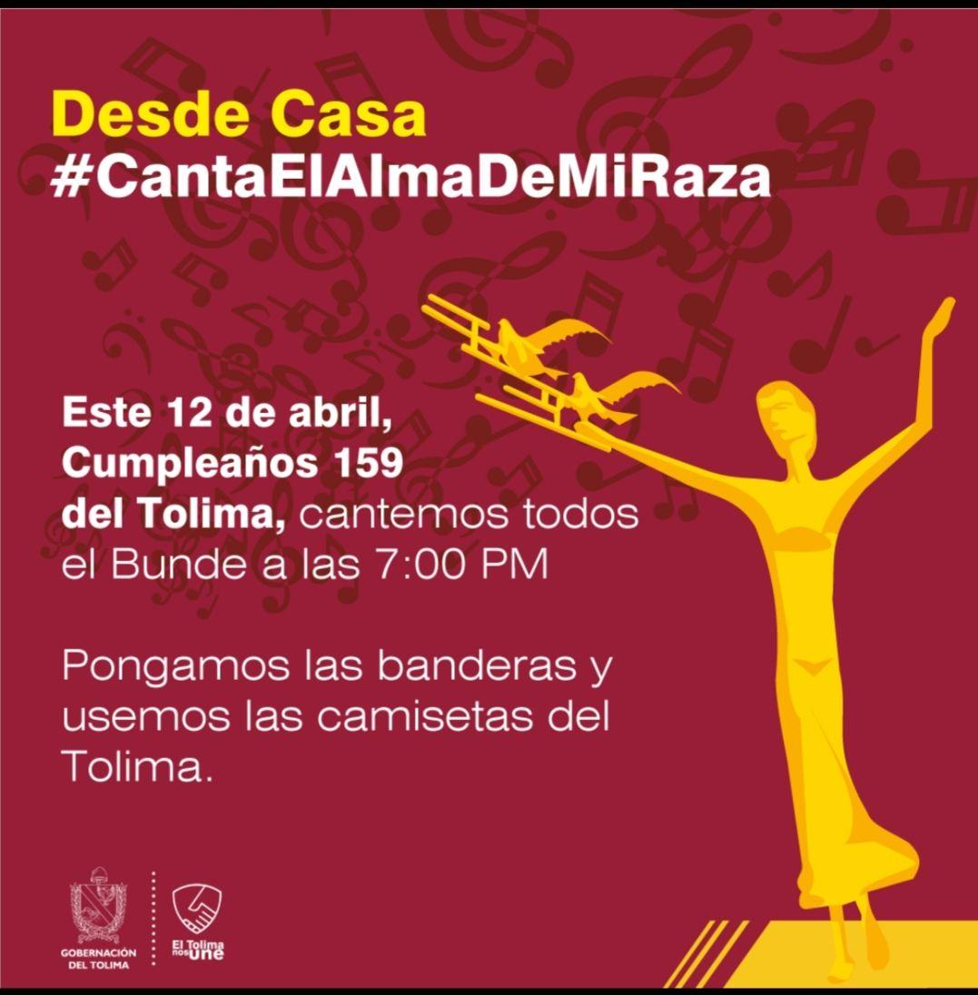 Invitados a celebrar el cumpleaños 159 del Tolima en una sola voz