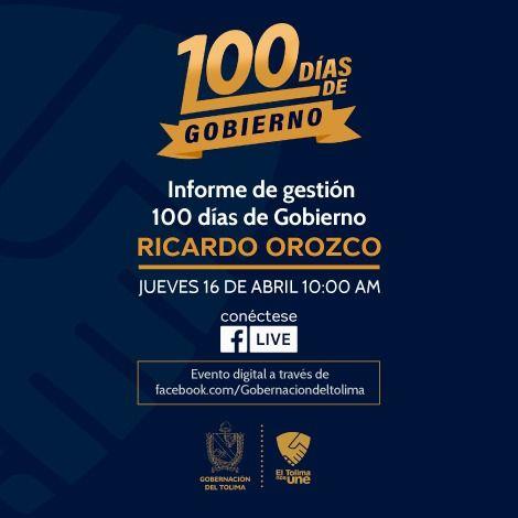 De forma digital, Gobernación del Tolima realizará su informe de 100 días de gobierno