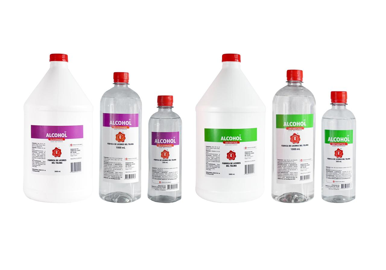 Alcohol antiséptico y glicerinado de la Fábrica de Licores del Tolima con amplia demanda en el país