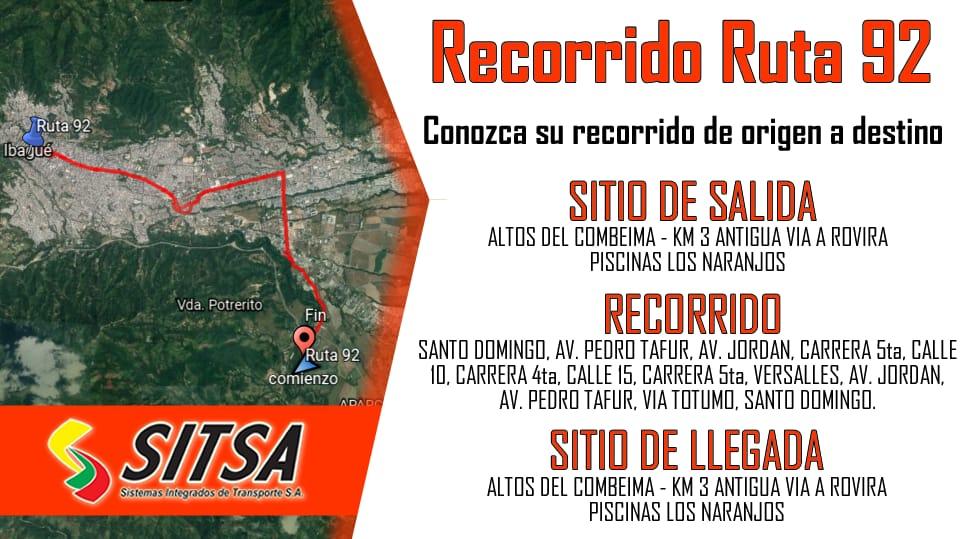 Este lunes empezó a rodar la 92: Nueva ruta de busetas en Ibagué