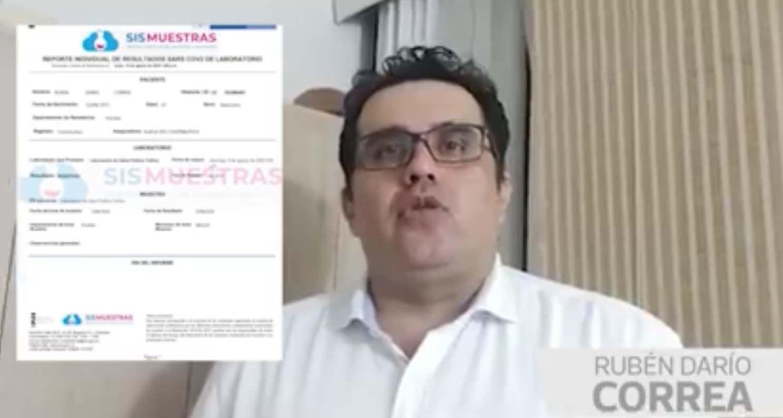 Rubén Darío Correa dice ahora que no tiene Coronavirus