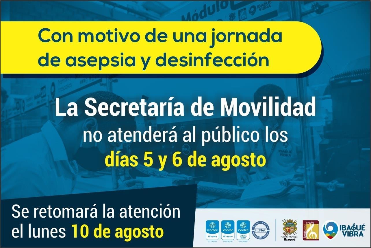 Hasta el lunes volverá a abrir al público la Secretaría de Movilidad de Ibagué