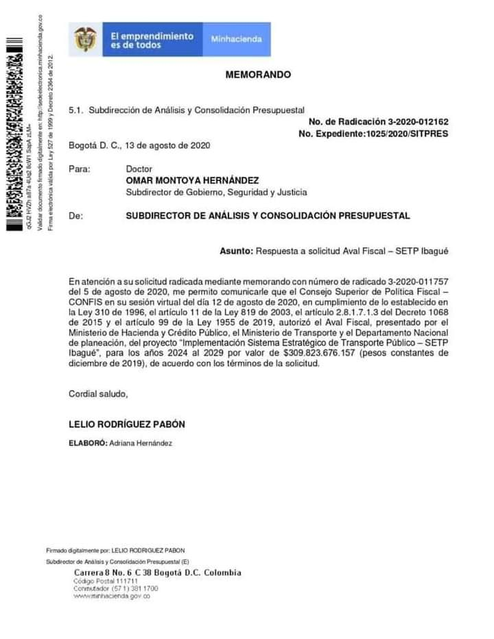 MinHacienda aprobó recursos para el Sistema Estratégico de Transporte Público, SETP, para Ibagué