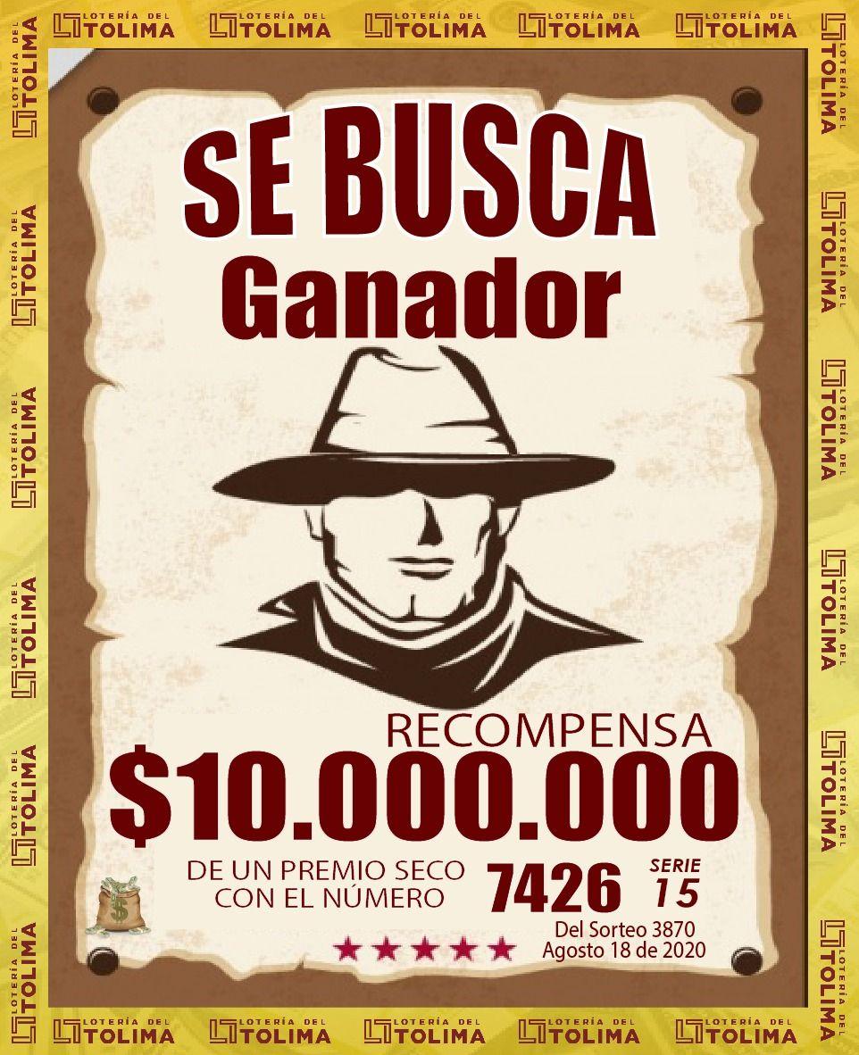 Se buscan ganadores de dos premios secos de la Lotería del Tolima