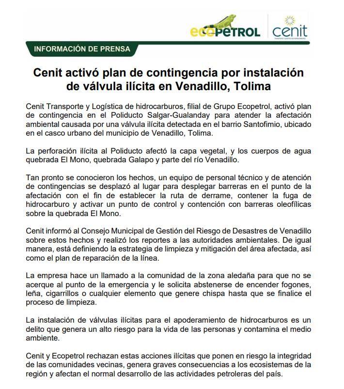 Daño ambiental y susto por reguero de combustible en quebrada de Venadillo