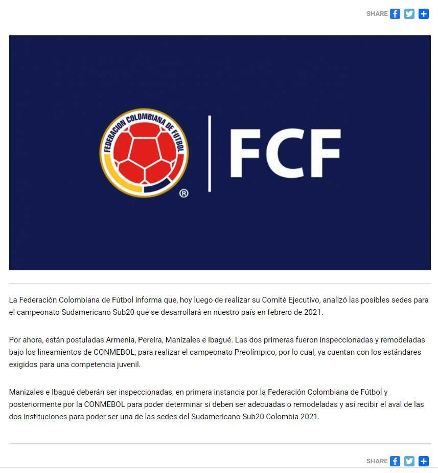 Ibagué quedó pendiente de una inspección para recibir aval como subsede de Sudamericano Sub 20