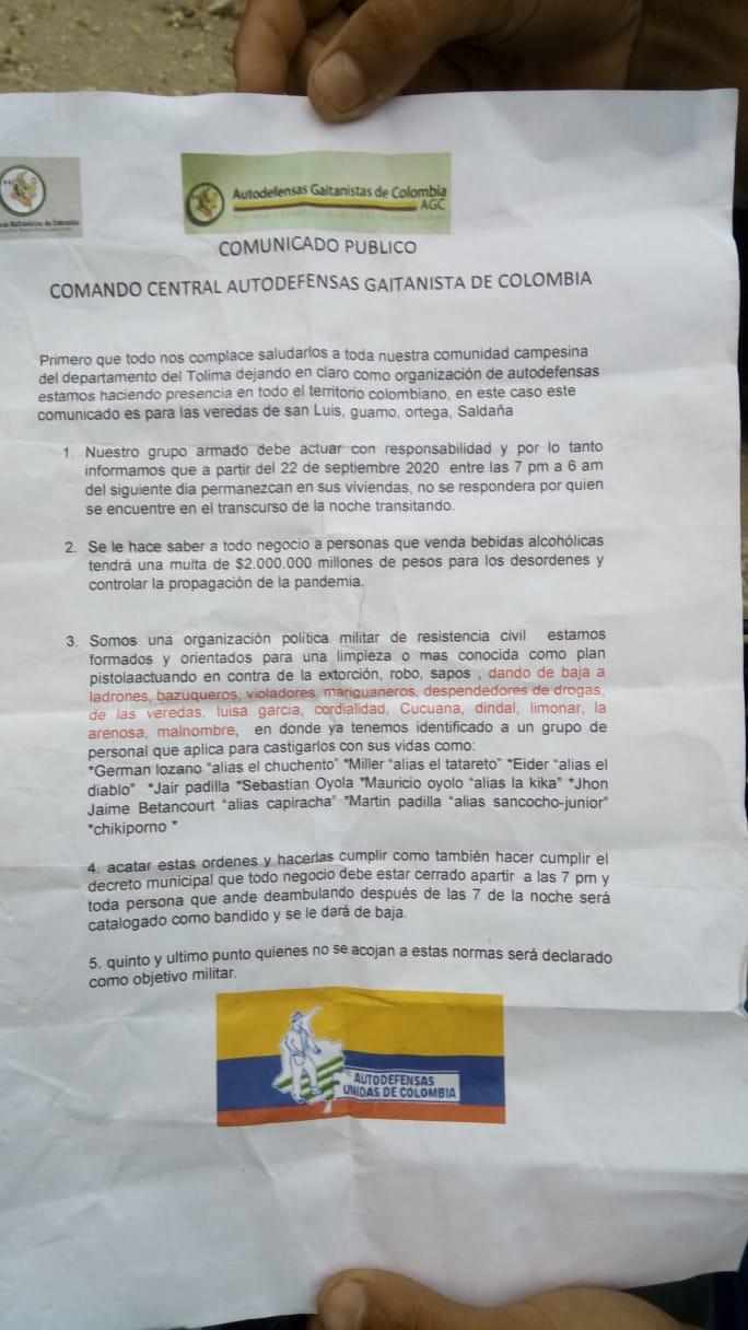 Policía del Tolima negó veracidad de panfleto amenazante en varios municipios
