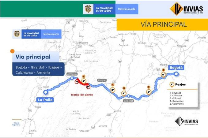 Recuerde: A partir de este lunes habrá cierres nocturnos de la vía entre Cajamarca y Calarcá