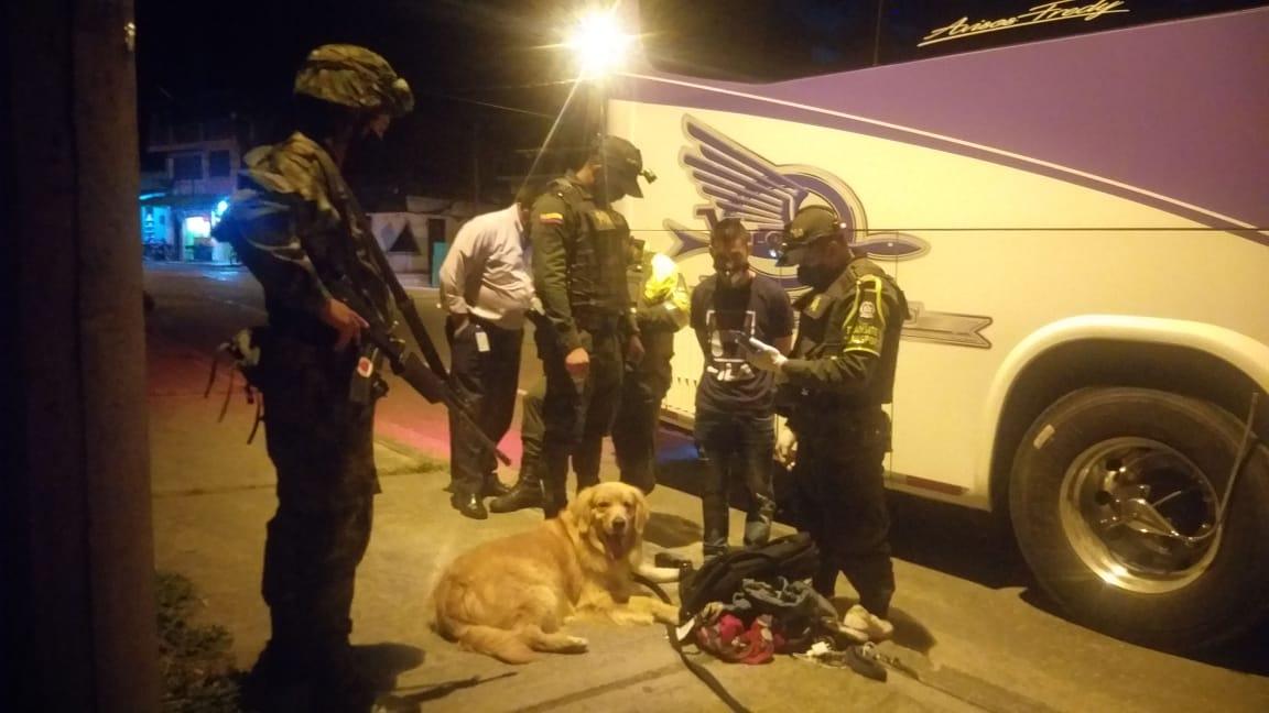 'Killer', el perro que detectó clorhidrato de cocaína en maleta de pasajero de bus