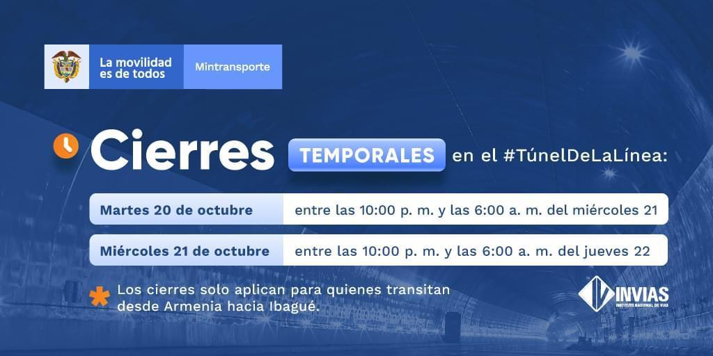Recuerde: Túnel de la Línea será cerrado por revisión este martes y miércoles