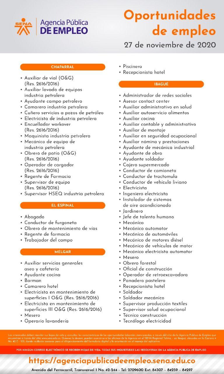 Trabajo sí hay: 70 vacantes ofrece la agencia de empleo del Sena en Ibagué, Melgar, Chaparral y Espinal
