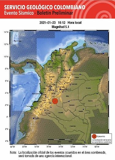 Temblor 5,1 de magnitud tuvo epicentro en el Huila y se sintió fuerte en el Tolima