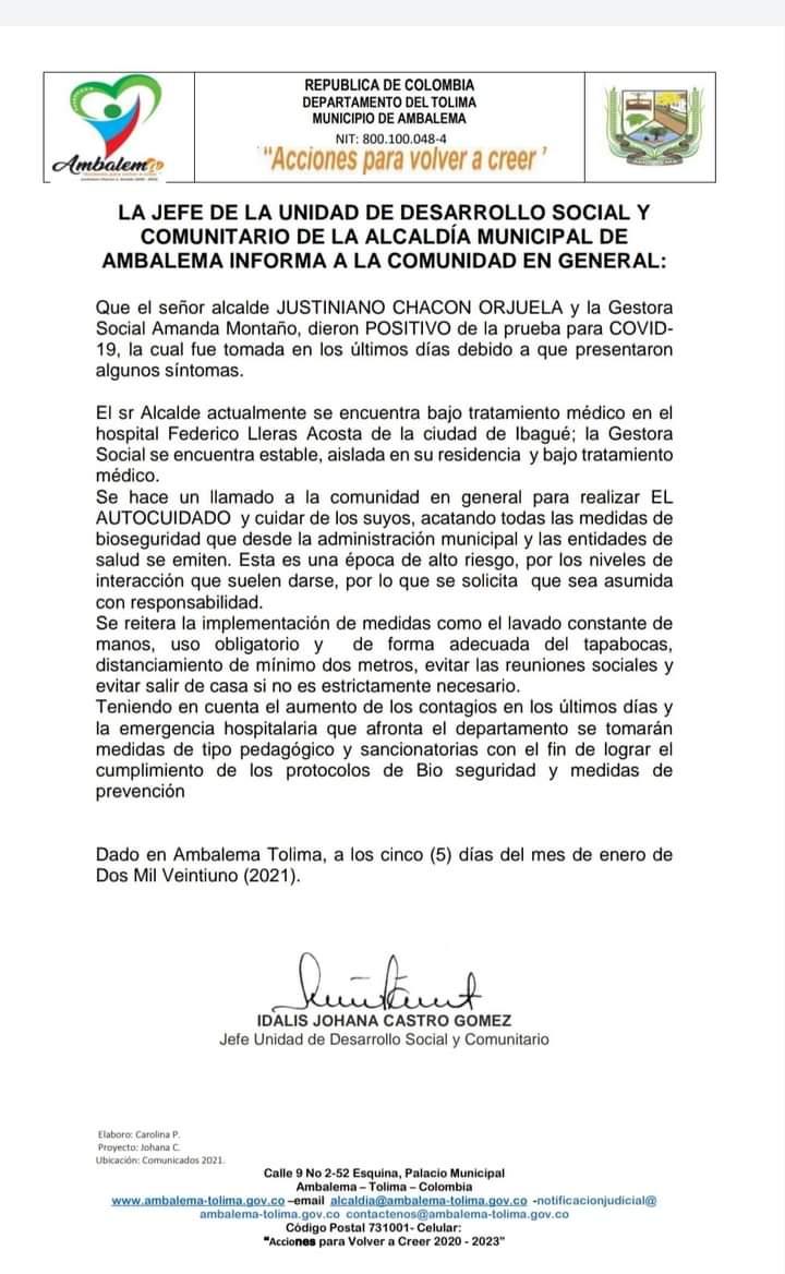 Con el de Ambalema, son siete los alcaldes del Tolima que han tenido Covid