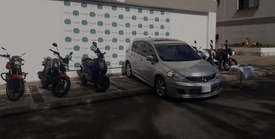 Policía recuperó seis motos y un carro reportados como robados