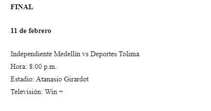 Para el jueves 11 de febrero quedó la final de la 'Copa Colombia' entre el DIM y Tolima