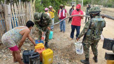 Soldados de la Sexta Brigada entregaron 50 mil litros de agua a comunidades indígenas de Coyaima