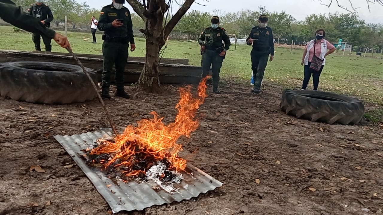 Destrucción de 3.928 armas corto punzantes y 635 gramos de estupefacientes en el Tolima