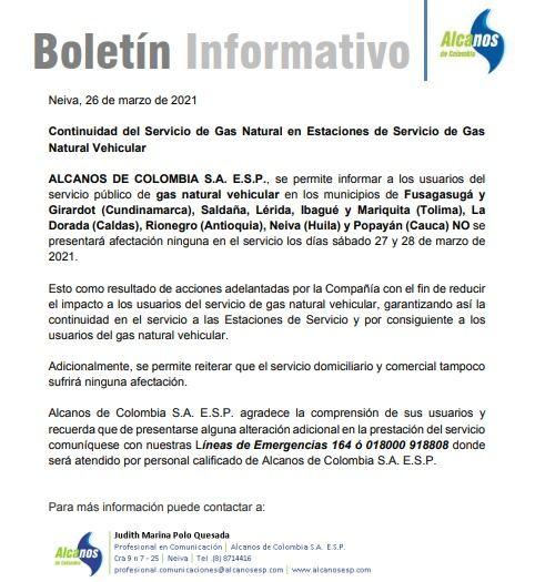 Ya no habrá corte de gas vehicular en Ibagué y tres poblaciones del Tolima