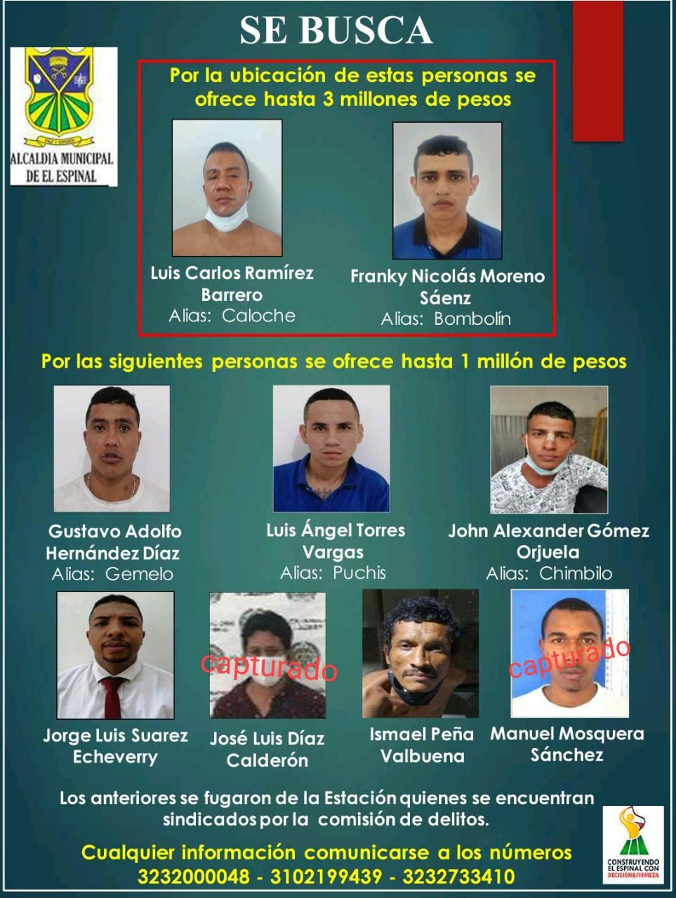 Se fugaron nueve detenidos de la estación de Policía del Espinal