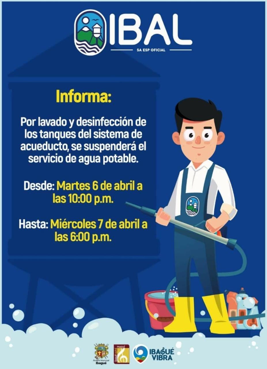 Recuerde: Desde las 10 de la noche de este martes no habrá agua en Ibagué por 20 horas