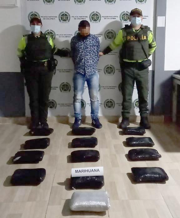 Capturan a ciudadano con 13.5 kilos de marihuana