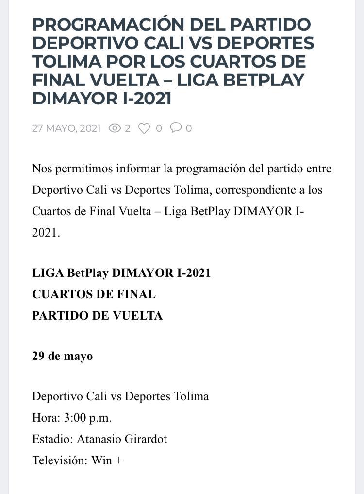 Atención: Dimayor programó para este sábado el partido pendiente entre Cali y Tolima