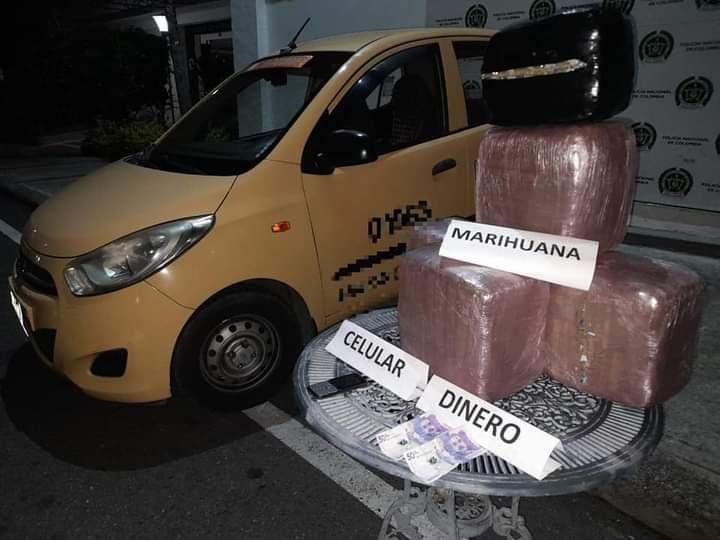 Cayeron en un taxi con 34 kilos de marihuana