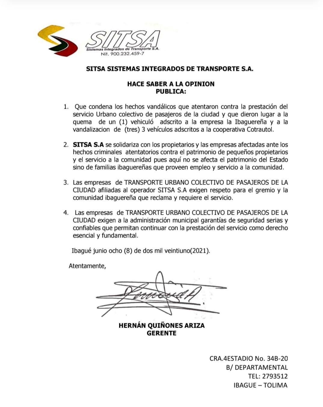 Sitsa rechaza actos vandálicos contra el sector del transporte en Ibagué
