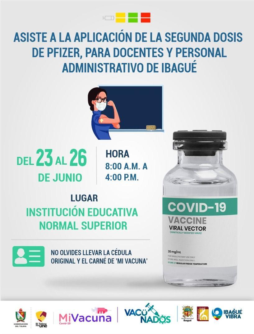 Inicia aplicación de segunda dosis de vacuna contra el Covid a docentes de Ibagué