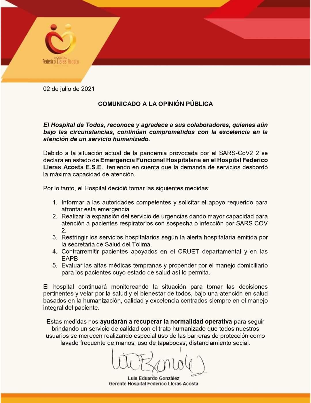 Declaran 'emergencia funcional' en el hospital Federico Lleras Acosta