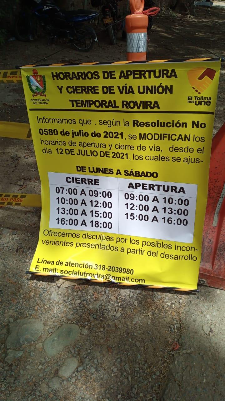 Atentos a los cierres programados entre Ibagué y Rovira por obras de pavimentación