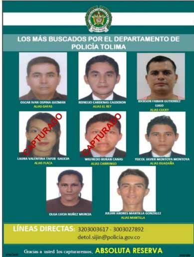 Conozca el cartel de 'Los más buscados en el Tolima'