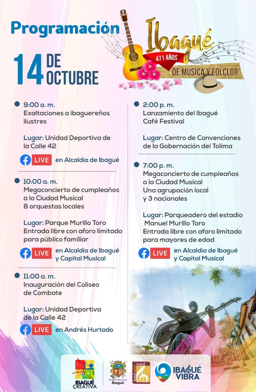 ¡Así se celebrarán los 471 años de fundación de Ibagué!
